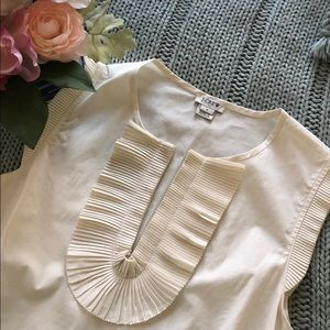 J. Crew ivory blouse with ruffle detail